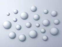 fond abstrait des sphères 3d blanches Photo stock