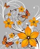 Fond abstrait floral avec des guindineaux illustration de vecteur