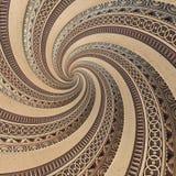 Fond abstrait géométrique de cuivre en bronze de modèle de fractale de spirale d'ornement Fond en spirale d'effet de modèle en mé Photos libres de droits