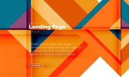 Fond abstrait géométrique de forme carrée, calibre de débarquement de web design de page illustration stock