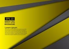 Fond abstrait géométrique noir et jaune avec l'espace de copie, conception graphique Photo stock