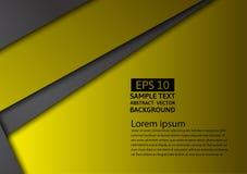 Fond abstrait géométrique noir et jaune de vecteur avec l'espace de copie, conception graphique Images libres de droits