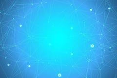 Fond abstrait g?om?trique avec la ligne et les points reli?s Mol?cule et communication de structure Grande visualisation de donn? illustration de vecteur
