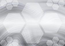 Fond abstrait gris d'hexagone et de vecteur de courbes illustration libre de droits