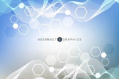 Fond abstrait hexagonal Grande visualisation de données Connexion réseau globale Médical, technologie, la science illustration stock