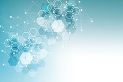 Fond abstrait hexagonal Grande visualisation de donn?es Connexion r?seau globale M?dical, technologie, la science illustration libre de droits