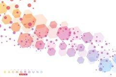Fond abstrait hexagonal Grande visualisation de donn?es Connexion r?seau globale M?dical, technologie, la science illustration de vecteur