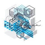 Fond abstrait linéaire isométrique de vecteur, abstraction rayée Image stock