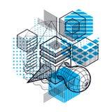 Fond abstrait linéaire isométrique de vecteur, abstraction rayée Images stock