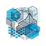 Fond abstrait linéaire isométrique de vecteur, abstraction rayée Photos libres de droits