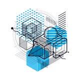 Fond abstrait linéaire isométrique de vecteur, abstraction rayée Photographie stock libre de droits