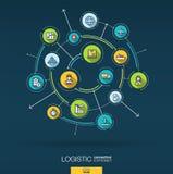 Fond abstrait logistique et de distribution Digital relient le système aux cercles intégrés, ligne mince plate icônes illustration libre de droits