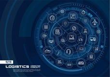 Fond abstrait logistique et de distribution Digital relient le système aux cercles intégrés, ligne mince rougeoyante icônes illustration stock