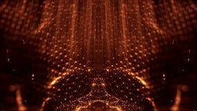 Fond abstrait loopable de particules d'or avec la profondeur du champ, les étincelles de lueur des lumières et les éléments numér clips vidéos
