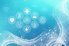 Fond abstrait médical avec des icônes de soins de santé Concept médical de réseau de technologie Lignes et points reliés, vague illustration stock