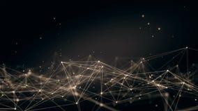 Fond abstrait moléculaire fait une boucle de plexus de technologie futuriste Connexions réseau Réseau rougeoyant futuriste