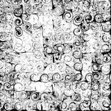 Fond abstrait noir et blanc rayé, tourbillonné et souillé grunge Images stock