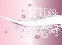 Fond abstrait rose avec des remous fleuris Photos libres de droits