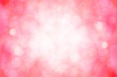 Fond abstrait rose rouge de bokeh et de coeur Photos stock