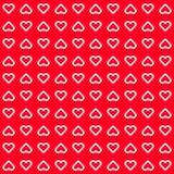 Fond abstrait rouge avec des signes de coeur Photo stock