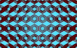 Fond abstrait rouge de modèle d'hexagone sur le fond bleu Photo stock