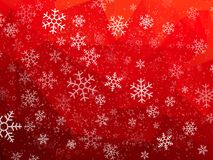 Fond abstrait rouge de Noël avec des flocons de neige illustration libre de droits