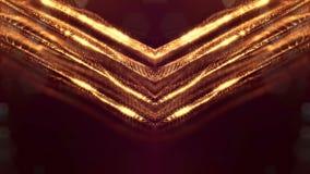 Fond abstrait sans couture d'or avec des particules L'espace virtuel avec la profondeur du champ, des étincelles de lueur et des  clips vidéos