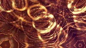 Fond abstrait sans couture d'or avec des particules L'espace virtuel avec la profondeur du champ, des étincelles de lueur et des  banque de vidéos