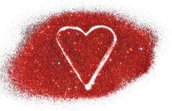 Fond abstrait trouble avec le coeur de l'étincelle rouge de scintillement sur la surface blanche Images stock