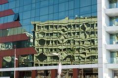 Fond abstrait urbain de ville, construction en verre Image libre de droits