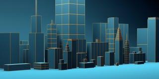 Fond abstrait urbain, panorama bleu futuriste de ville illustration 3D illustration libre de droits
