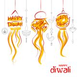 Fond accrochant de vacances de Kandil Diwali pour le festival léger de l'Inde avec le message dans le hindi signifiant Dipawali h Image stock