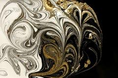 Fond acrylique abstrait de marbre Texture de marbrure d'illustration Modèle d'ondulation d'agate Poudre d'or photos libres de droits