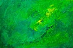 Fond acrylique abstrait vert et jaune Images libres de droits