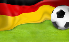 Fond allemand de boule du football 3D du football de drapeau Photographie stock
