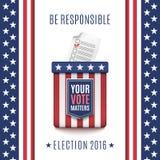 Fond 2016 américain d'élection avec l'urne  Photo stock