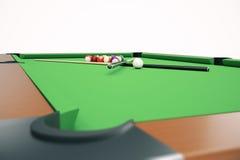 fond américain de boules de billard de piscine de l'illustration 3D Billard américain Jeu de barre, jeu de table de billard Photos stock