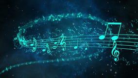 Fond animé avec les notes musicales, notes de musique - BOUCLE