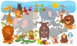 Fond animal de groupe de caractères de bande dessinée illustration stock
