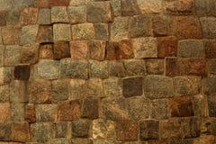 Fond antique de texture de mur de fort de bloc de pierre de Brown Photographie stock libre de droits