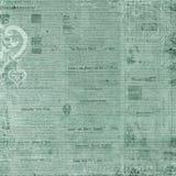 Fond antique des textes de journal de vert bleu Photo libre de droits