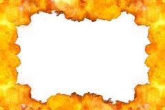 Fond ardent de cadre sur le blanc Images stock