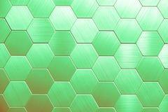 Fond argenté abstrait en métal Hexagones géométriques photo stock