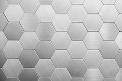 Fond argenté abstrait en métal Hexagones géométriques images libres de droits