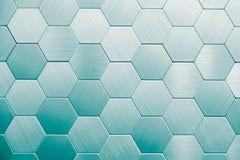 Fond argenté abstrait en métal Hexagones géométriques images stock