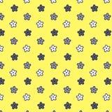 Fond argenté blanc noir de jaune de modèle de fleur illustration libre de droits