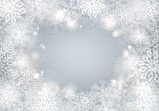 Fond argenté de flocons de neige Illustration Stock