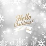 Fond argenté de Noël avec des flocons de neige Photographie stock libre de droits