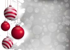 Fond argenté de Noël avec les babioles rouges Éléments décoratifs pour la conception de vacances Vecteur Photo stock