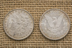 Fond 1880 argenté de toile de jute de dollars US de Morgan Image libre de droits